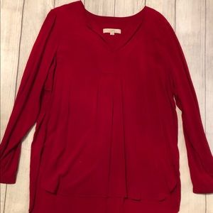 Loft red flowy blouse. Size L.